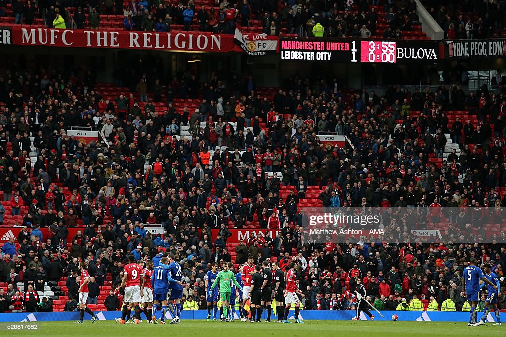 General View of the scoreboard at the end of the Barclays Premier League match between Manchester United and Leicester City at Old Trafford on May 1, 2016 in Manchester, United Kingdom.