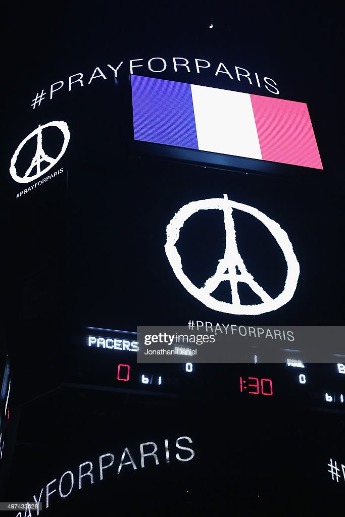 A general view of the scoreboard at the United Center as the National Anthem of France is played before the Chicago Bulls take on the Indiana Pacers...