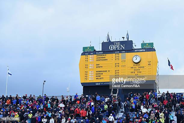 A general view of the scoreboard displaying a congratulatory message to winner Zach Johnson of the United States following the play off of the 144th...