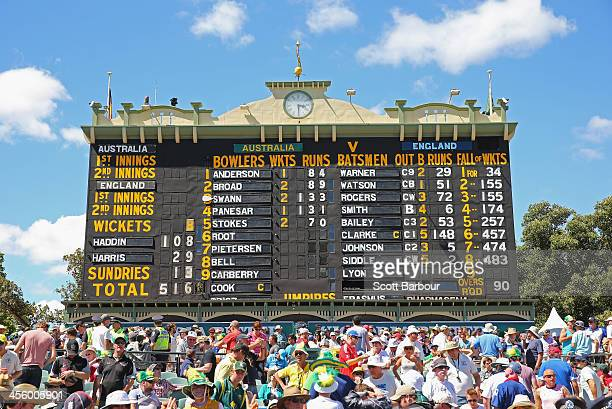 A general view of the scoreboard during day two of the Second Ashes Test Match between Australia and England at Adelaide Oval on December 6 2013 in...