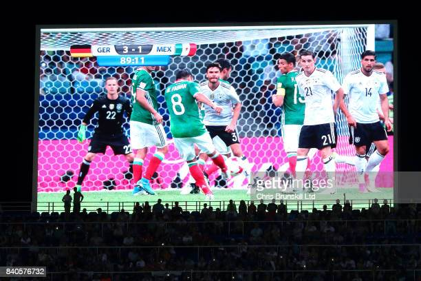 A general view of the scoreboard during the FIFA Confederations Cup Russia 2017 SemiFinal match between Germany and Mexico at Fisht Olympic Stadium...