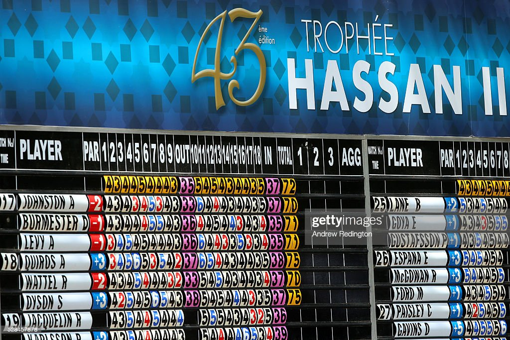 A general view of the scoreboard during the first round of the Trophee Hassan II at Royal Golf Dar Es Salam on May 5, 2016 in Rabat, Morocco.