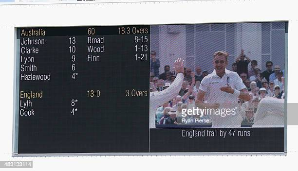 A general view of the scoreboard during the lunch break showing Stuart Broad of England on the screen during day one of the 4th Investec Ashes Test...