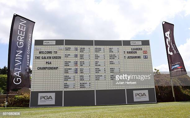 A general view of the scoreboard during the PGA Assistants Championship South West Qualifier at Exeter Golf and Country Club on May 16 in Exeter...