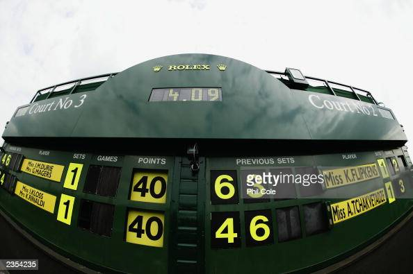 General view of the scoreboard for Courts two and three during the final day of the Wimbledon Lawn Tennis Championships held on July 6 2003 at the...