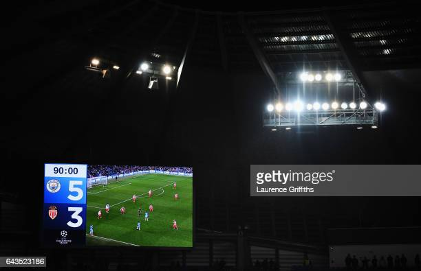 A general view of the scoreboard inside the stadium prior to during the UEFA Champions League Round of 16 first leg match between Manchester City FC...