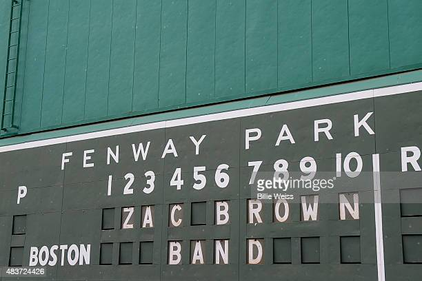 A general view of the scoreboard on the Green Monster at Fenway Park before the Zac Brown Band performance during the Major League Baseball Ballpark...