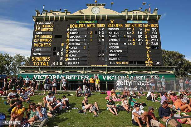 A general view of the scoreboard on the 'The Hill' during day one of the First Test match between Australia and India at the Adelaide Oval on...