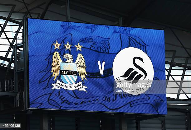 A general view of the scoreboard prior to the Barclays Premier League match between Manchester City and Swansea City at Etihad Stadium on November 22...