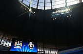 A general view of the scoreboard prior to the UEFA Champions League Group D match between Manchester City FC and Juventus at the Etihad Stadium on...