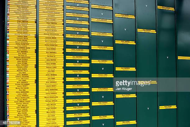 General view of the scoreboard with the the Gentlemans draw on showing the route of Novak Djokovic of Serbia and Roger Federer of Switzerland to the...