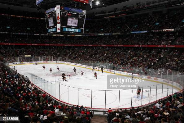 General view of the Scotiabank Place arena during a game between the Calgary Flames and the Ottawa Senators on October 12 2006 in Ottawa Canada The...