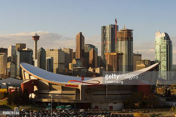 A general view of the Scotiabank Saddledome prior to an NHL game between the Calgary Flames and the Vancouver Canucks on October 8 2014 in Calgary...