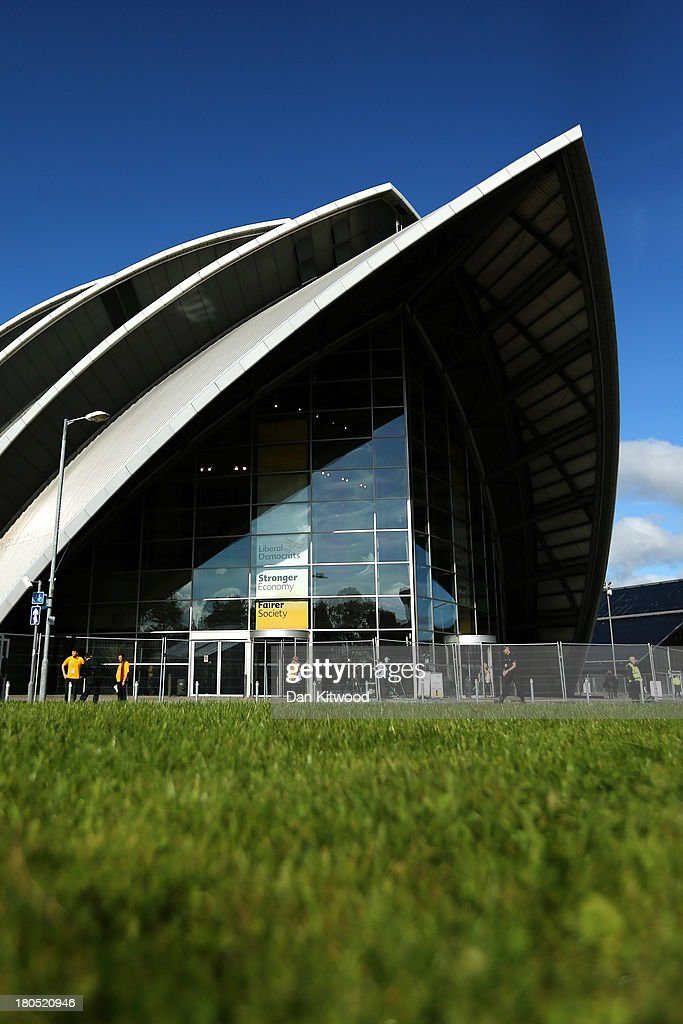 A general view of the Scottish Exhibition and Conference Centre ahead of the Liberal Democrats Autumn conference on September 14, 2013 in Glasgow, Scotland. The Liberal Democrat Autumn conference begins in Glasgow today, with leader Nick Clegg addressing the audience during a rally this evening.