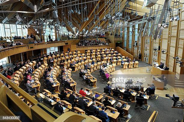 A general view of the Scottish Parliament during a debate on the EU Referendum result and the implications for Scotland in Edinburgh Scotland on June...