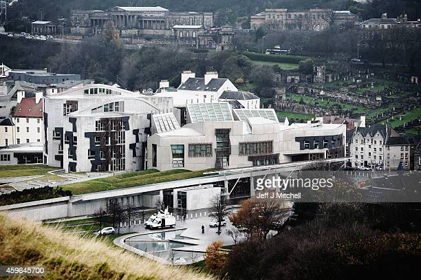 A general view of the Scottish Parliament on November 27 2014 in Edinburgh Scotland Lord Smith announced that the Scottish Parliament should have the...