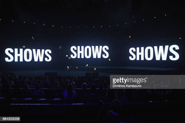 A general view of the screens onstage during the Turner Upfront 2017 show at The Theater at Madison Square Garden on May 17 2017 in New York City...