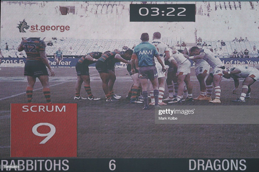 A general view of the scrum countdown clock is seen on the big screen as scrum packs during the NRL Charity Shield match between the St George Illawarra Dragons and the South Sydney Rabbitohs at ANZ Stadium on February 13, 2016 in Sydney, Australia.
