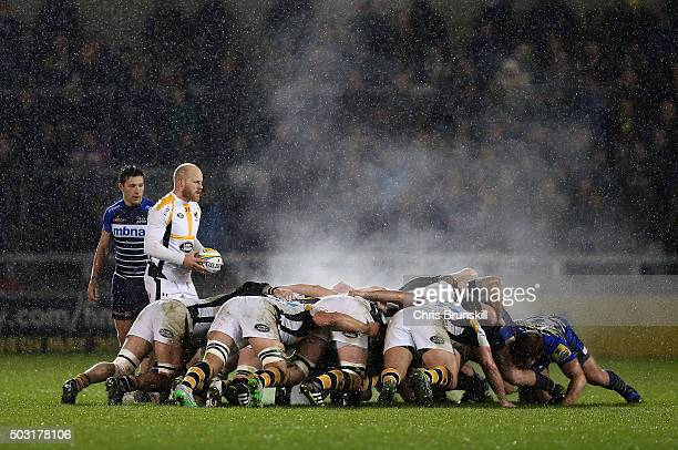 A general view of the scrum during the Aviva Premiership match between Sale Sharks and Wasps at the AJ Bell Stadium on January 02 2016 in Salford...