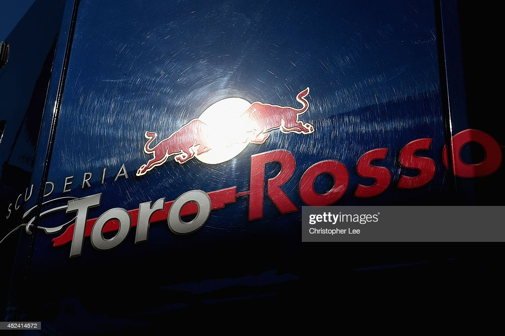 A general view of the Scuderia Toro Rosso motorhome in the paddock during final practice ahead of the German Grand Prix at Hockenheimring on July 19...