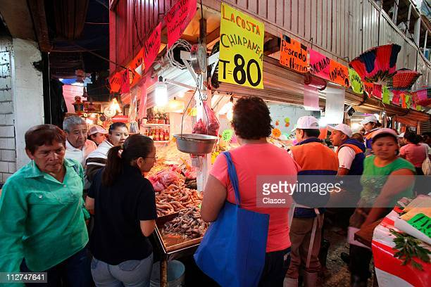 General view of the seafood for sale at new market La Viga during the Lenten season on April 20 2011 in Mexico City Mexico