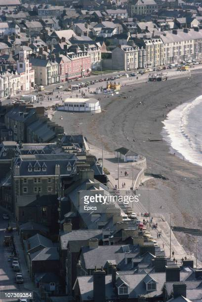 A general view of the seafront of market town and resort Aberystwyth Ceredigion Wales September 1982