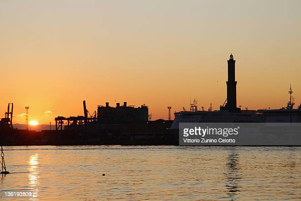 A general view of the seaport and the 'Lanterna' the ancient and famous lighthouse of Genoa on December 28 2011 in Genoa Italy Genoa is the capital...