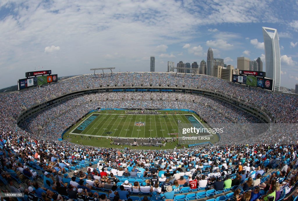 A general view of the Seattle Seahawks against the Carolina Panthers during their game at Bank of America Stadium on September 8, 2013 in Charlotte, North Carolina.