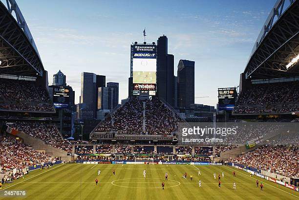 A general view of the Seattle Skyline during the Champions World Series game between Manchester United and Celtic on July 23 2003 at Seattle Seahawks...