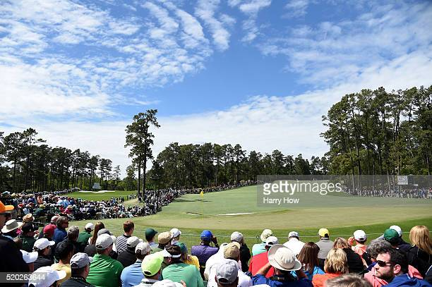 A general view of the second green during the final round of the 2016 Masters Tournament at Augusta National Golf Club on April 10 2016 in Augusta...