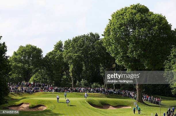 A general view of the second green played by Jamie Donaldson of Wales and Alejandro Canizares of Spain during day 3 of the BMW PGA Championship at...
