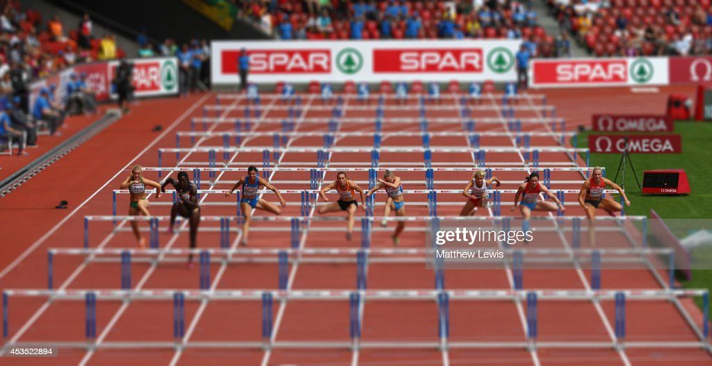 A general view of the second heat of the Womens 100m Hurdles during day one of the 22nd European Athletics Championship at Stadium Letzigrund on August 12, 2014 in Zurich, Switzerland.