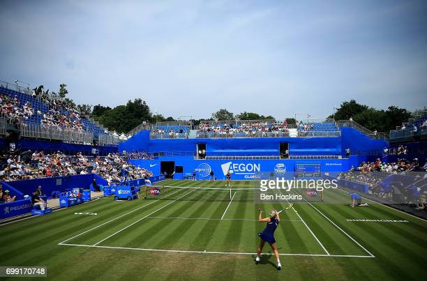 A general view of the second round match between Daria Gavrilova of Australia and Katerina Siniakova of The Czech Republic on day three of The Aegon...