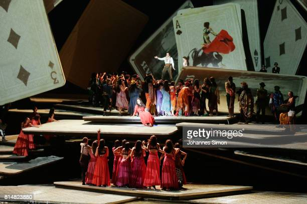 General view of the Seebuehne floating stage design seen during the rehearsal of the opera 'Carmen' prior the Bregenz Festival on July 14 2017 in...