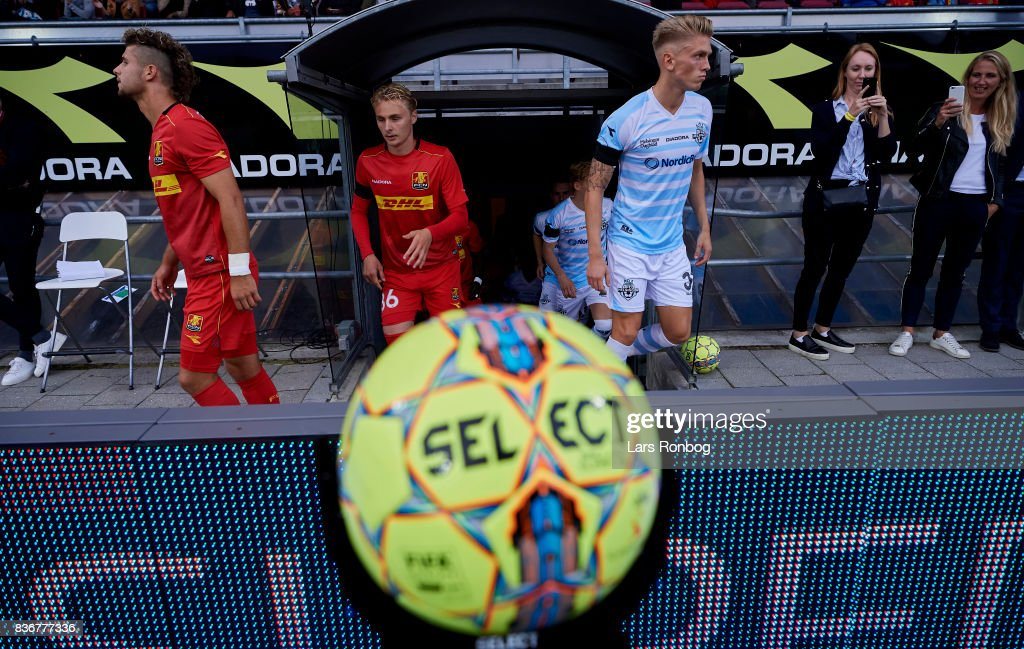 General view of the Select Sport match ball and the two teams walking on to the pitch prior to the Danish Alka Superliga match between FC Nordsjalland and FC Helsingor at Right to Dream Park on August 21, 2017 in Farum, Denmark.