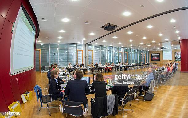 A general view of the Sepp Herberger room during the women's bundesliga manager meeting at DFB headquarter on July 3 2014 in Frankfurt am Main Germany