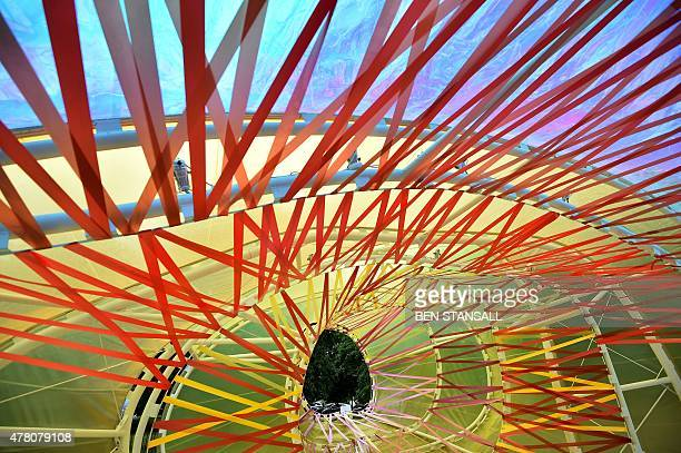 A general view of the Serpentine pavilion structure designed by Spanish architects Lucia Cano and Jose Selgas at the Serpentine Gallery in London on...