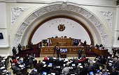 General view of the session at the national assembly in Caracas on February 24 2015 Venezuelan progovernment deputies seeking the withdrawal of the...