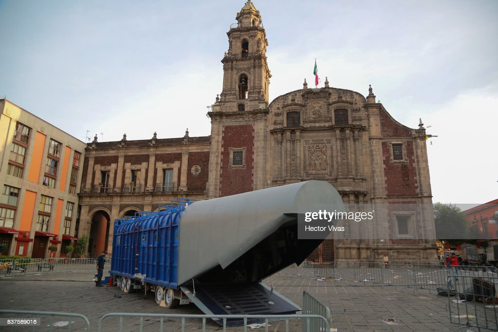 General view of the set during the filming of 'Godzilla: King of the Monsters' at Santo Domingo Square on August 22, 2017 in Mexico City, Mexico.