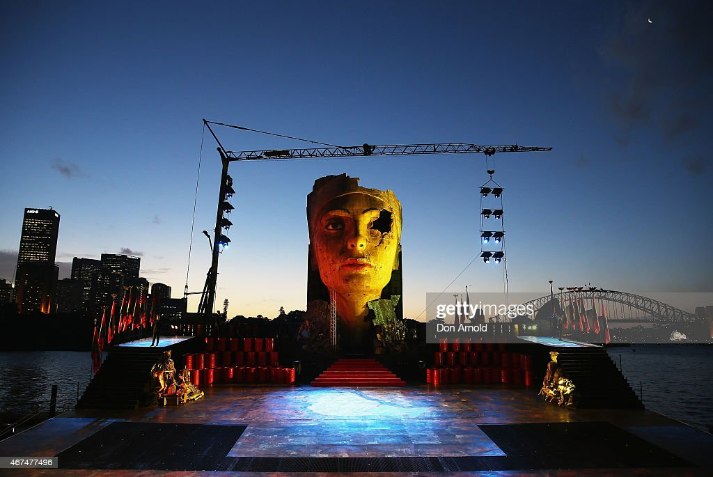 A general view of the set is seen just prior to a preview performance of Handa Opera's Aida on Sydney Harbour on March 25, 2015 in Sydney, Australia.