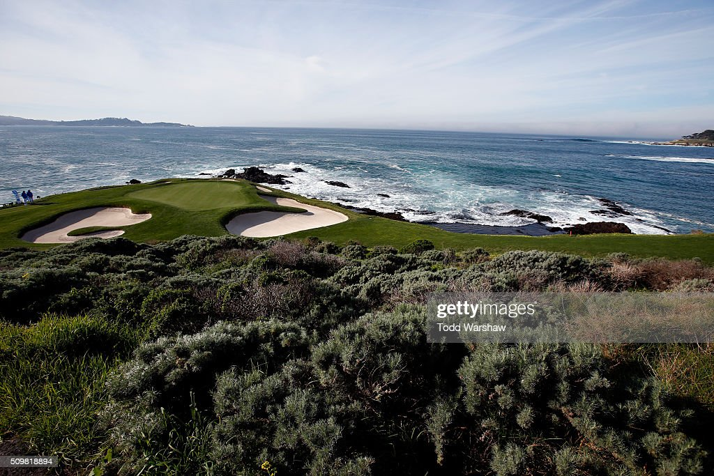 A general view of the seventh green during the second round of the AT&T Pebble Beach National Pro-Am at the Pebble Beach Golf Links on February 12, 2016 in Pebble Beach, California.
