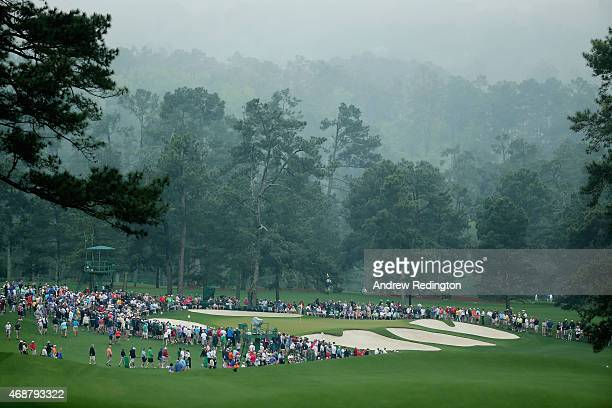 A general view of the seventh green is seen during a practice round prior to the start of the 2015 Masters Tournament at Augusta National Golf Club...