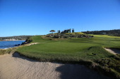 A general view of the seventh hole during the third round of the ATT Pebble Beach National ProAm at Pebble Beach Golf Links on February 9 2013 in...