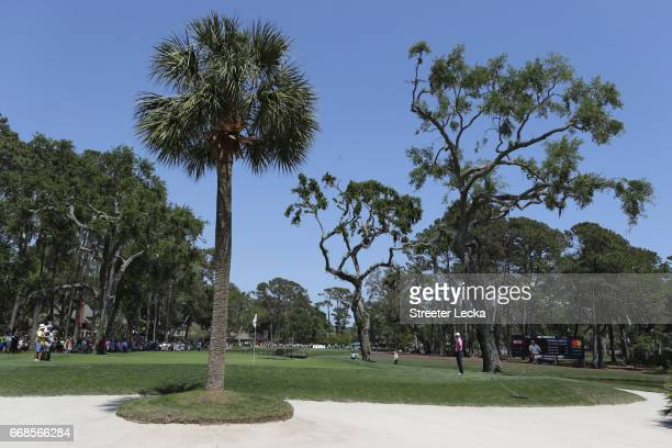 A general view of the seventh hole with the group of Matt Kuchar Martin Kaymer of Germany and Russell Henley during the second round of the 2017 RBC...