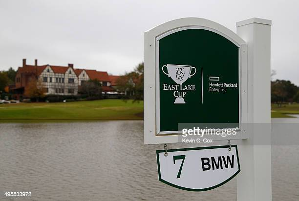 A general view of the seventh tee marker overlooking the clubhouse during day 2 of the 2015 East Lake Cup at East Lake Golf Club on November 3 2015...