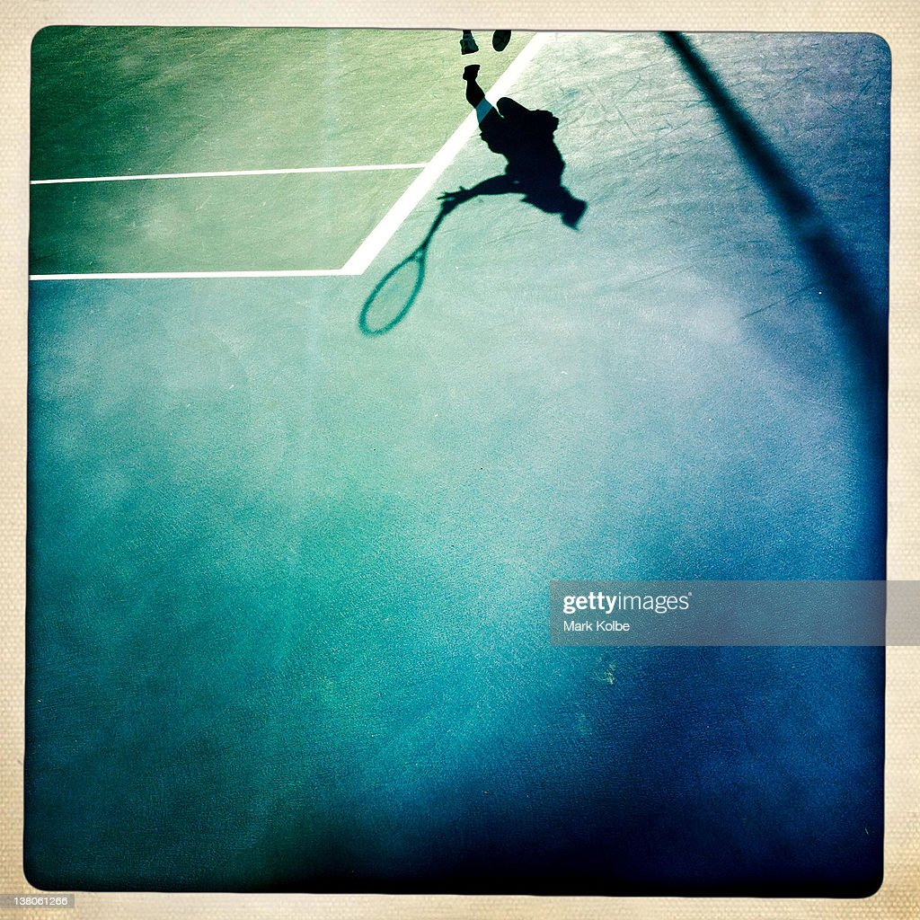 A general view of the shadows on the court during the first round juniors match between Eugenie Bouchard of Canada and Miyu Kato of Japan during day seven of the 2012 Australian Open at Melbourne Park on January 22, 2012 in Melbourne, Australia.