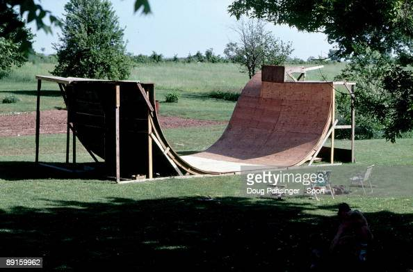 A general view of the Shady Grove Ramp half pipe in June 1980 in Shady Grove Pennsylvania This is the original stage of the ramp as seen in the...