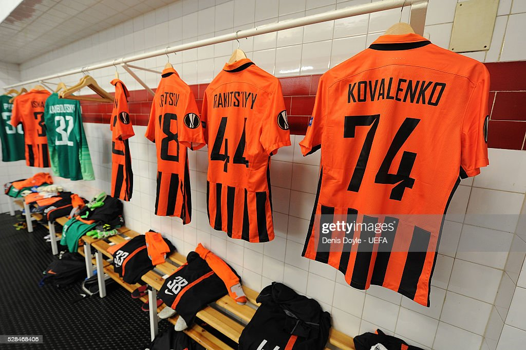 General view of the Shakhtar Donetsk dressing room ahead of the UEFA Europa League Semi Final second leg match between Sevilla and Shakhtar Donetsk at the Sanchez Pizjuan stadium on May 5, 2016 in Seville, Spain.