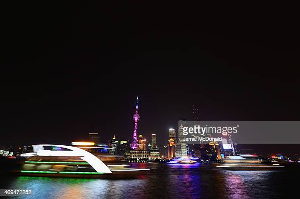 A general view of the Shanghai skyline at night prior to the 2015 Laureus World Sports Awards on April 12 2015 in Shanghai China