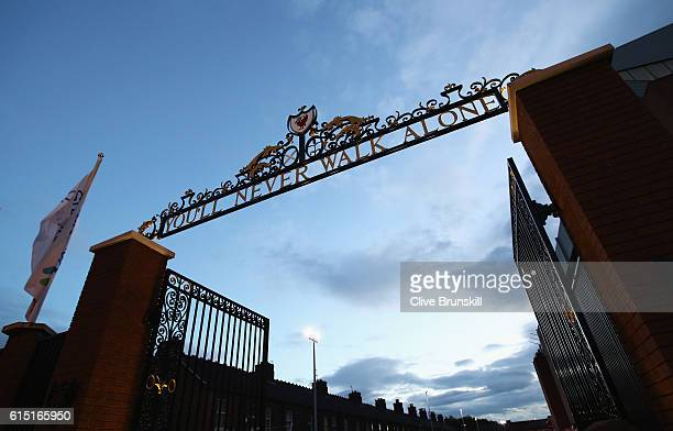 A general view of the Shankly gates outside the stadium before the Premier League match between Liverpool and Manchester United at Anfield on October...